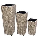 Set de 3 Pots de Fleurs bac à Fleurs crème polyrotin Pot intérieur Amovible Design élégant résistant aux intempéries et UV intérieur et extérieur...