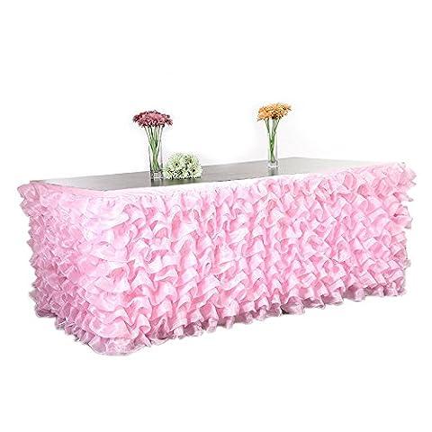 Lugii Cube faite à la main élégante en tulle Jupe de table pour fête, DE réunions, DE Mariage et décoration de la maison rose