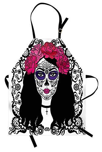 Sugar Skull Apron, Mädchen mit Zuckerschädel Make-up Dia De Los Muertos Traditioneller Kunstdruck, Unisex-Küchenschürze mit verstellbarem Hals zum Kochen Backen Gartenarbeit, Schwarz Weiß Rosa (Dia Männer Make-up Los De Muertos)