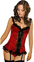 Lorembelle AC17 Sexy Red Overbust Corset Burlesque Basque Lingerie with Thong