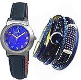Geschenk Set Damen Uhr Echtleder mit Wickel Armband und Magnetverschluss der Modetrend !