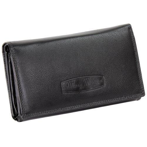 Ledershop24 Damen Leder Geldbörse Damen Portemonnaie Damen Geldbeutel - Lang Schwarz Leder - Geschenkset + exklusiven Schlüsselanhänger