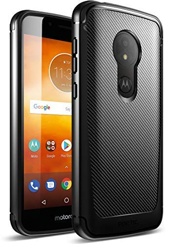 Moto E5 Play Hülle, Poetic Karbon Shield [stoßdämpfend] Slim Fit TPU Hülle mit [Carbonfaser-Textur] für Motorola Moto E5 Play schwarz - Cellular Shield