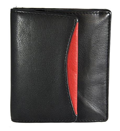 echt Leder Geldbörse Wiener Schachtel Jockey Club Nappaleder schwarz rot