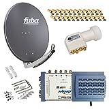 HB-Digital SET: FUBA 8 Teilnehmer Digital SAT Anlage 78cm DAA780A + hochwertiger LNB 0,1dB FULL HDTV 4K + 5/8 Multischalter + 24 Vergoldete F-Stecker Gratis dazu