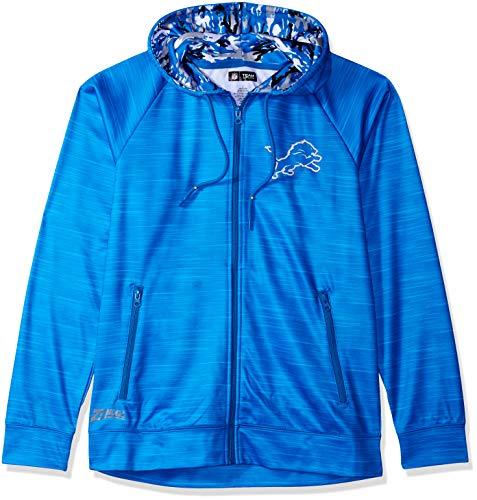 Löwen Camo (Zubaz NFL Male Kapuzenpullover mit durchgehendem Reißverschluss, Camouflagemuster, Herren, NFL Full Zip Camo Space Dye Hoodie, Rainstorm Blue, Small)