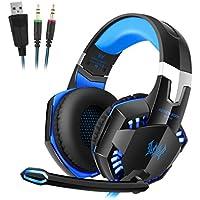 Estéreo Gaming Headset kotion each G2000, Mic Stereo Bass anulación Auriculares diadema con micrófono Luz LED para PC Gamer, color azul y negro