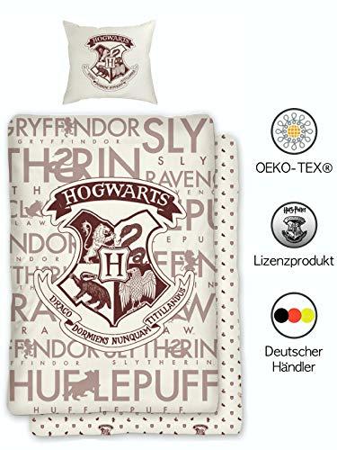 Harry Potter Wende-Bettwäsche-Set Hogwarts  135x200 cm 80x80 cm   100% Baumwolle   Deutsche Standardgröße mit ÖKO-TEX Siegel
