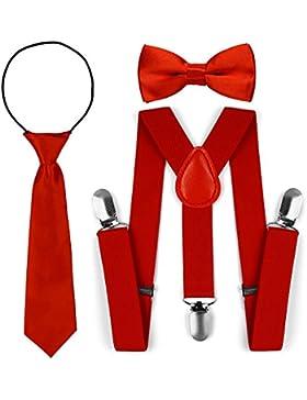 Juego de corbata para corbata de lazo de tirantes elásticos ajustables para niños