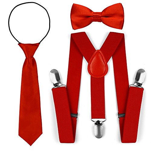Kinder Kleinkind verstellbare elastische Mode Hosenträger Fliege Krawatte Set (Rot) (Rote Hosenträger Baby)