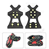 OurLeeme Anti Slip Shoe Boot Grips Ice Cleats Spikes Snow Gripper Non Slip Crampons M Black