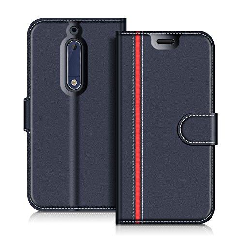 COODIO Nokia 5 Hülle Leder Lederhülle Ledertasche Wallet Handyhülle Tasche Schutzhülle mit Magnetverschluss/Kartenfächer für Nokia 5, Dunkel Blau/Rot