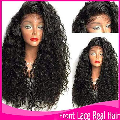 PKQ® 100% Echte Human Hair Vordere Spitze Perücken Damen Lang Wave Curly Front Lace Perrücke Frauen Mode Long Gelockt Kunsthaar Haarteile Täglicher Gebrauch Wig - Kostüm Brasiliano