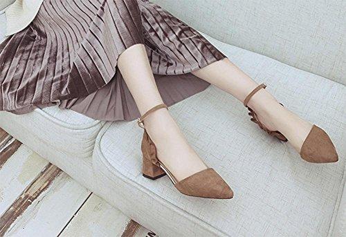Frühling und Sommer Schuhe mit hohen Absätzen zeigten rau mit einem einzigen Wort Schnalle Schuhe hohle Sandalen Brown