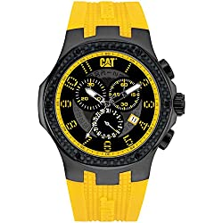 CAT Navigo Carbon Chrono Men's Quartz Watch with Black Dial Analogue Display and Yellow Silicone Strap A5.163.27.117