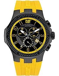 CAT Navigo Carbon Chrono Men's Quartz Watch with Black Dial Analogue Display and Yellow Silicone Strap A5.163.27.117