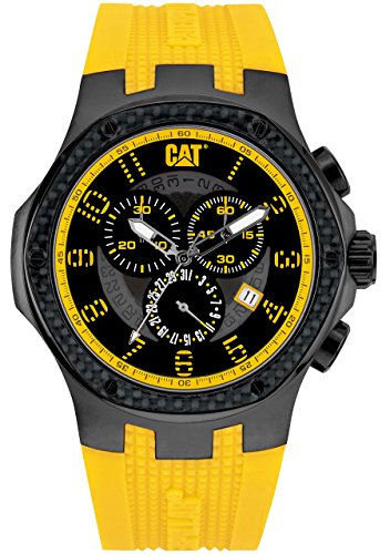 Navigo CAT carbonio Chrono-Orologio da uomo al quarzo con Display analogico e cinturino in Silicone A5,163.27,117, colore: giallo