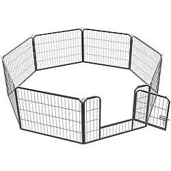 Maxx - Parc Enclos pour Chiens - Porte et 8 Panneaux - Grillage en Fer - 80x60cm - Ø 210 cm - Cage pour Chiens Chiots Animaux de Compagnie