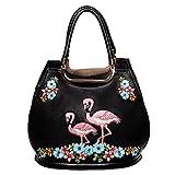 Banned Vintage Damen Handtasche - Retro Flamingo Henkeltasche in Schwarz, Rosa oder Türkis