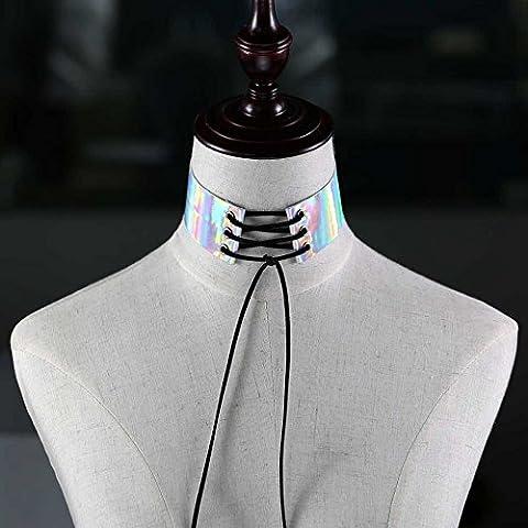 reixus (TM) Spitze bis Choker Rainbow Collier Frauen Gothic Choker Hals Boho Schmuck Harajuku geschoben Anime Laser Maxi Halskette Halskette, weiß