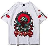 XiYang Unisex Hip Hop High Street Oversized T-Shirt mit tifer Schalternaht Skelett Weiß