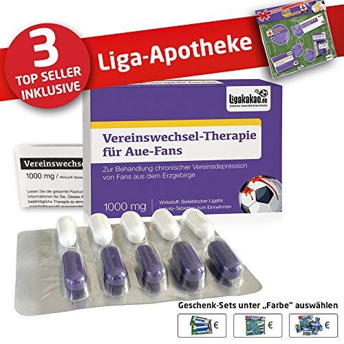 by Ligakakao.de FC Erzgebirge AUE Mütze ist jetzt die Liga-APOTHEKE Strickmütze lila-weiß Logo Emblem Männer-Größe ()
