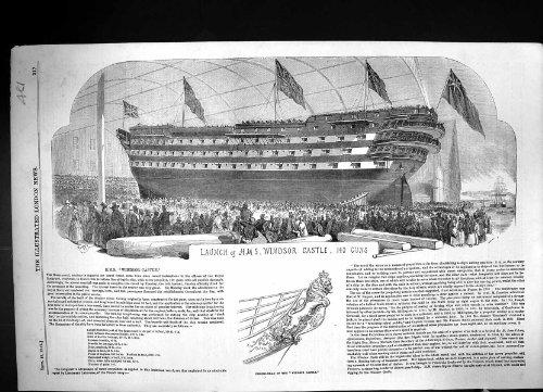 Una Stampa Antica 1852 del Lancio H.M.S. Figura-Testa delle Pistole del Castello 140 di Windsor (Windsor Testa)