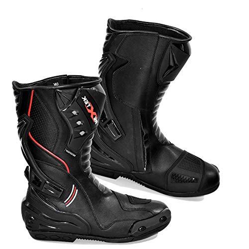 in Vera Pelle da Uomo Moto Motocicletta Blindata Touring Racing Sports Protezione Sicurezza Scarpe Stivali | Full Nero