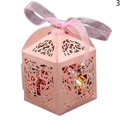 Blue Vessel 50 Stück Spitze Laser Cut Kreuz Kuchen Süßigkeiten Geschenkboxen mit Ribbon Wedding Favor Boxen (Rosa) (Blue Wedding Favor Boxes)