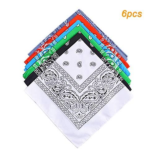 Huture 6 Stück Bandana Kopftuch Halstuch Mischfarben Armtuch 100% Baumwolle mit Original Cashew Muster für Männer und Frauen 55×55cm