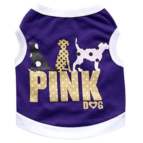 YiJee Freizeit Haustier Hund Weste Kleidung Atmungsaktiv Hündchen T-shirt Sommer Lila M