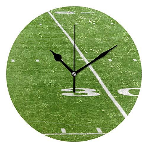DEZIRO Green Turf American Football Filed Best Wecker Round Wall Clock HangStand Large Clock