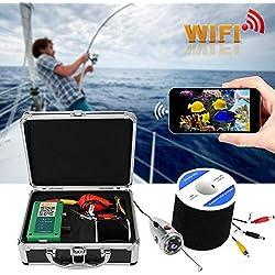 Oyunngs Caméra de pêche sous-Marine, câble vidéo 720P 98.4ft WiFi 6LED 165 ° étanche caméra vidéo sous-Marine, pour la pêche sur Glace, en mer, en rivière et en Bateau(Noir)
