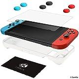 CamKix Kit Protezione compatibile con Nintendo Switch: Cover Sleeve TPU in Silicone (Bianco), Proteggi Schermo Antigraffio e 6x Cappucci Thumb Grip/Copri Pulsante Joystick (2x Rosso, 2x Blu e 2x Nero)