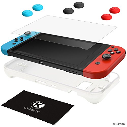 CamKix® Schutz-Kit kompatibel mit Nintendo Switch: 1x Silikonhülle TPU (Weiß), 1x Anti-Kratz Displayschutzfolie und 6X Daumengriffkappe / Joystick Tastenabdeckung (2X Rot, 2X Blau und 2X Schwarz) -
