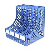 Hinmay 4sezioni in plastica Robusta portariviste cornici divisori Armadio Porta Carta Documenti Ufficio Scuola scrivania organizzatore Box, Blue, Taglia Libera