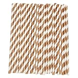 Sukisuki 25Pcs Disposable Paper Straws Striped Party Wedding Supplies Drinking Straw (Brown)