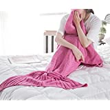 "ChezMax Knitting Wool Mermaid Tail Blanket Soft Thick Sleeping Bag For Living Room Birthday Christmas Gift For Girls Pink 31.5""x 70.9"""