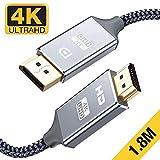 Snowkids CavoDisplayPort a HDMI 1.4-1,8m 4K Ultra HD maschio Adattatore Display Port a HDMI-nylon intrecciato non bidirezionale DP to HDMI Ports CavoSupportoDell, Lenovo,HP