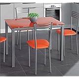 Mesa extensible de cristal translúcido color naranja y estructura gris par comedor o cocina