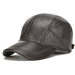 invierno casquillo de los deportes sombrero ajustable real de la vaca cuero de los hombres de la boina sombrero de la caza de béisbol para los hombres (black)