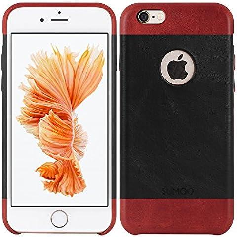 SUMGO® Apple iPhone 6 Plus, 6s Plus funda de cuero genuino funda de protecto Hard Cover Back Case bolso - en negro / rojo