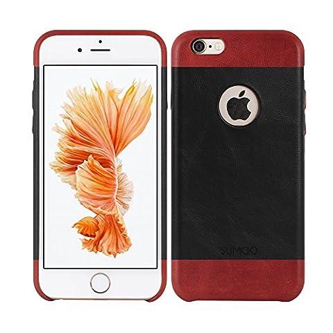 SUMGO® Apple iPhone 6, 6s Hülle echt Leder Schutzhülle Hard Cover Back Case Tasche - in Schwarz /