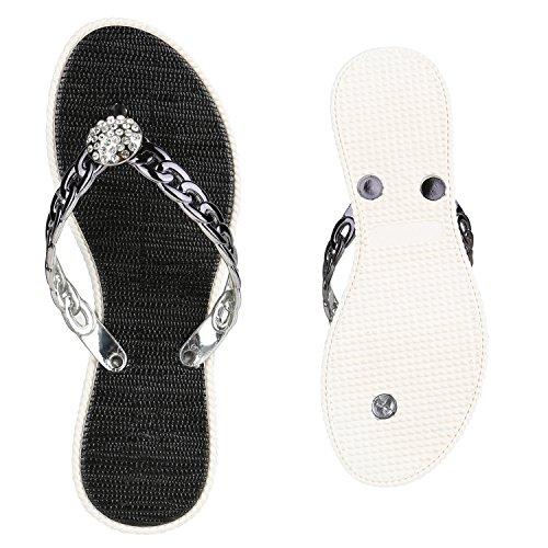Damen Sandalen Strass Zehentrenner Beach Schuhe Schwarz Weiss Kette