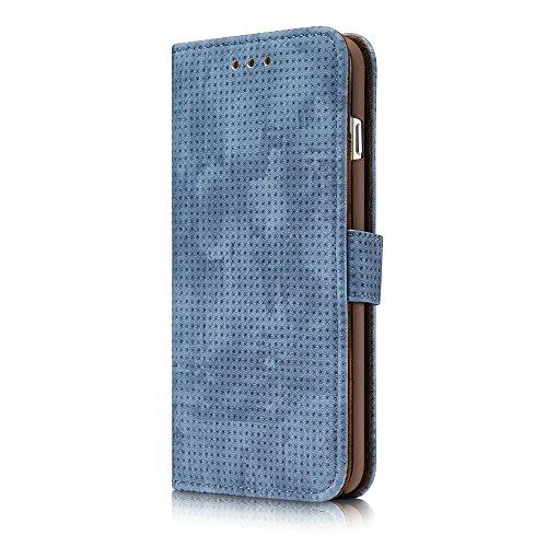 JIALUN-Telefon Fall Für IPhone 7 Plus und 8 Plus, mit Ständer Kartensteckplätze Retro matt atmungsaktive Air-Mesh PU Leder Folio Stand Wallet Case Cover ( Color : Darkgray ) Blue