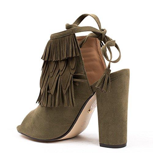 Ideal Shoes - Bottines peep toes à franges et ouvertes à l'arrière Naelle Taupe