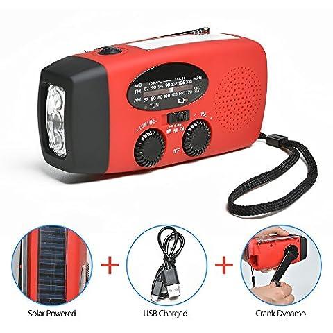 Multifunction Outdoor Radio – ODOLAND Flashlight+Radio+Powerbank Mobile Phone Charger, portable Crank/Dynamo+Solar+standard/mini-USB, FM/AM Emergency-Radio