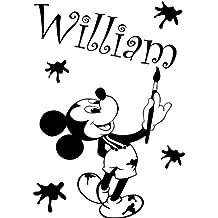 Mickey Mouse con su nombre elegido 60cm x 40cm elegir color 18colores en stock infantil de Disney, dibujo, pintura, cualquier nombre, personalizable nombre, dormitorio, cuarto de niños pegatinas, vinilo de coche, Windows y adhesivo decorativo para pared, de pared Windows Art, dodoskinz, diseño de vinilo adhesivo ThatVinylPlace