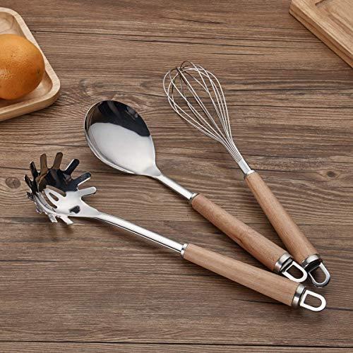 Berglander Acciaio inossidabile Manico in legno Set di utensili da cucina, Mestolo, Cucchiaio, Scrematrice, Frullino per uova, Giradadi, Server per pasta 6 pezzi. - 7