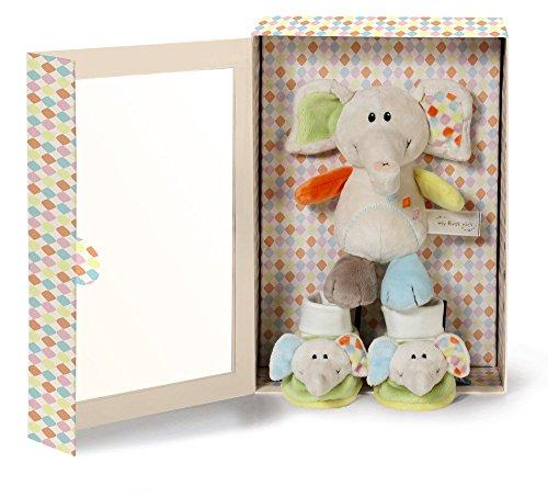 Nici 39720 Geschenkset Elefant Dundi plus Babyschuhe, 20 cm